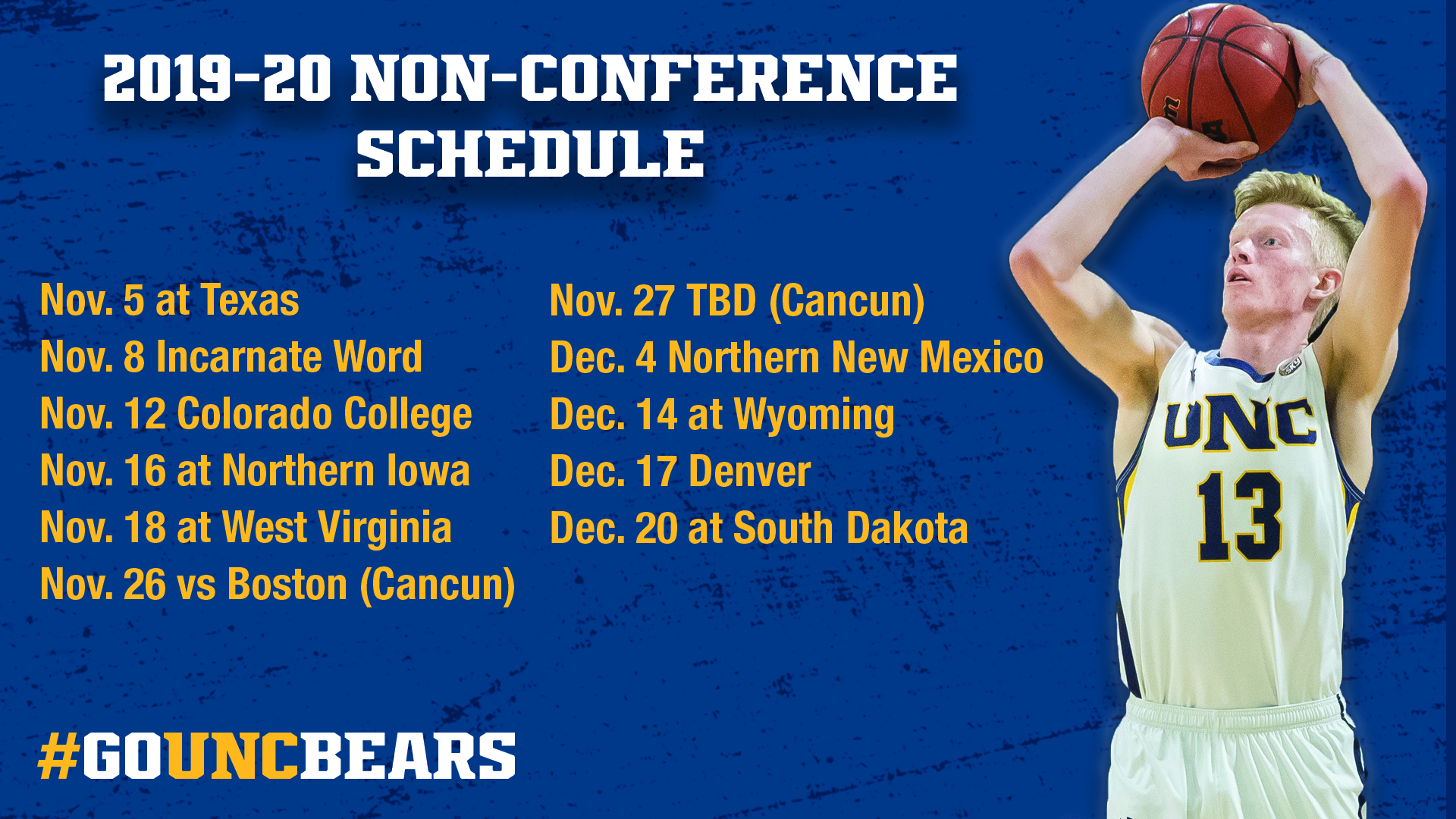 image regarding Unc Basketball Schedule Printable referred to as Mens Basketball - Faculty of Northern Colorado Sports activities